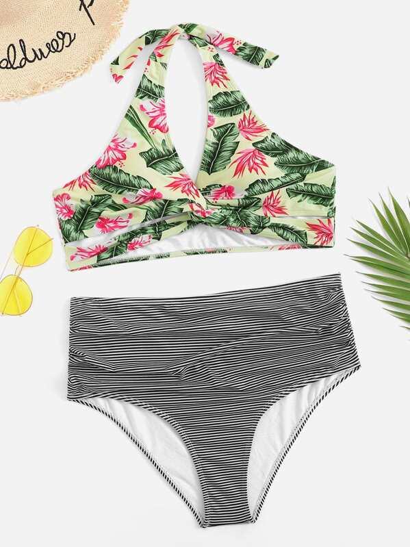 Plus Random Floral Halter Top With Striped Bikini Set, null