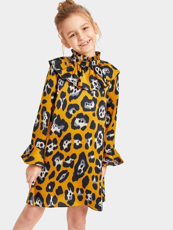 Girls Mock Neck Ruffle Trim Leopard Satin Dress, Sashab