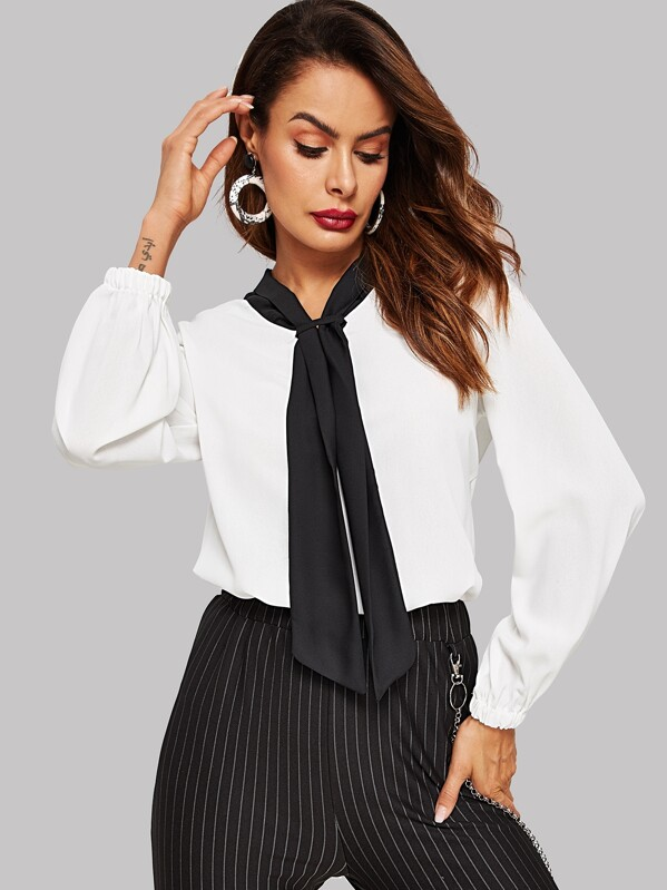 Contrast Tie Neck Blouse, Andy