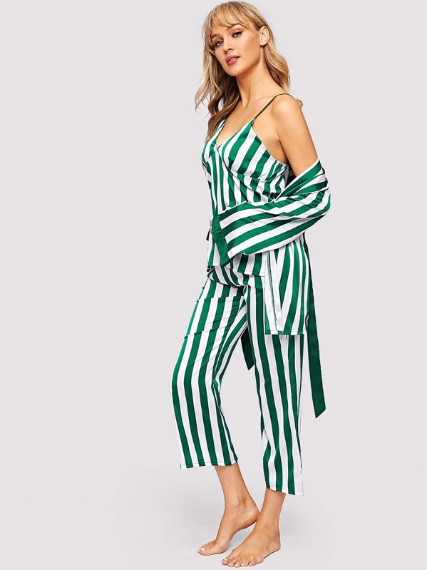 Striped Satin Cami PJ Set With Robe