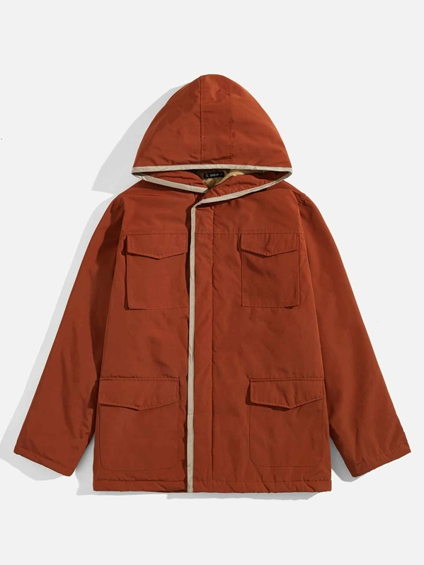 Men Flap Pocket Hooded Coat