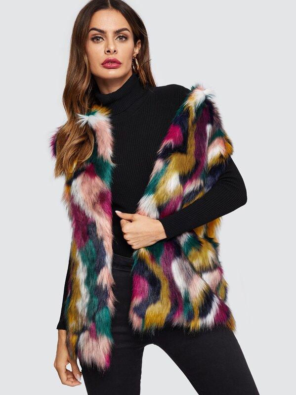 Open Front Colorful Faux Fur Vest, Andy