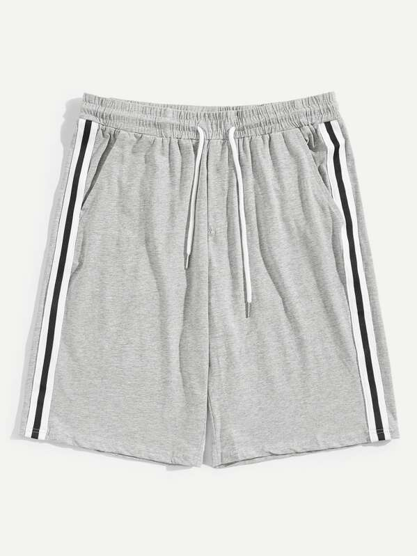 Men Drawstring Waist Heather Knit Striped Shorts