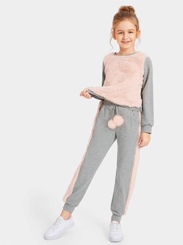 Girls Contrast Faux Fur Pullover & Pants Set