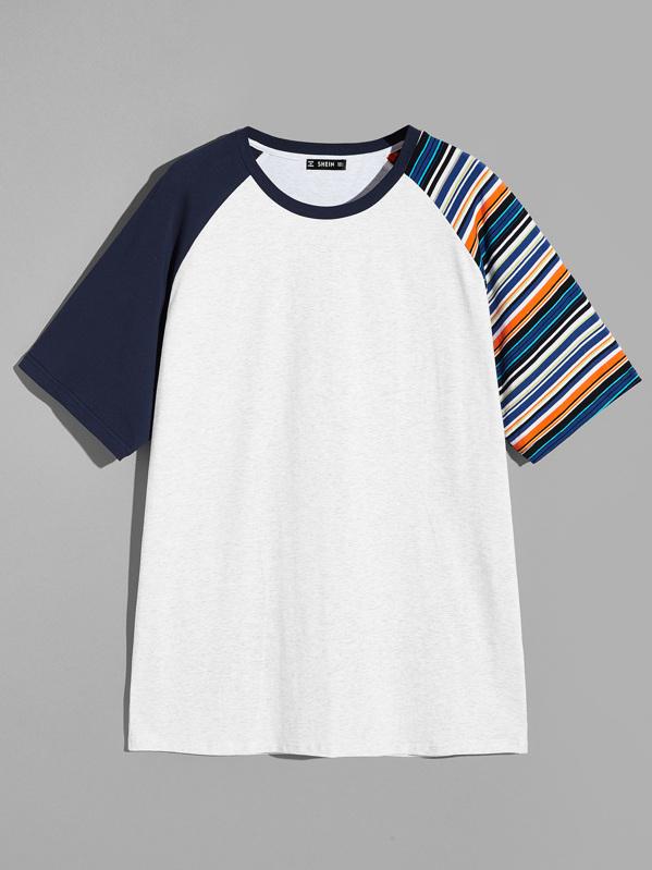 Men Raglan Sleeve Striped Tunic Tee