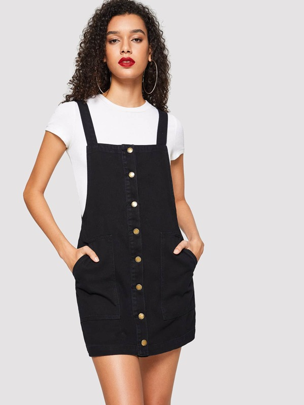 Pocket Front Button Front Pinafore Denim Dress, Maiara