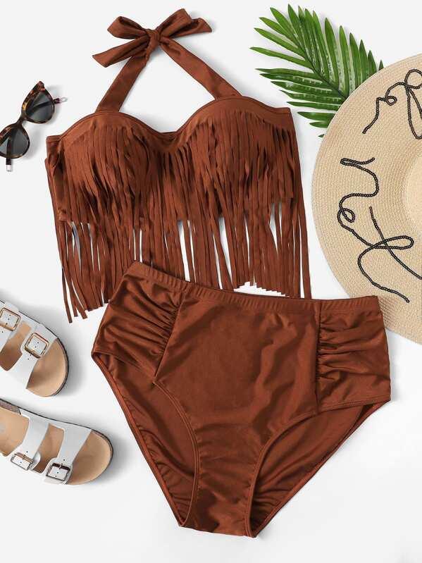 Plus Fringe Trim Halter Top With Ruched Bikini