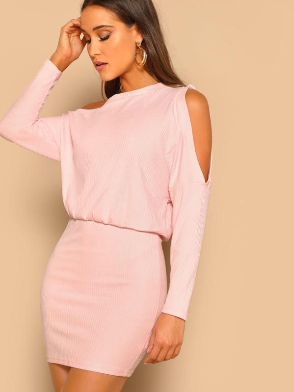Asymmetric Cold Shoulder Rib Knit Blouson Dress, Anna Herrin