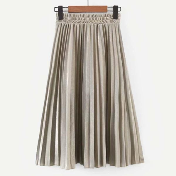 Elastic Waist Pleated Skirt, Gold