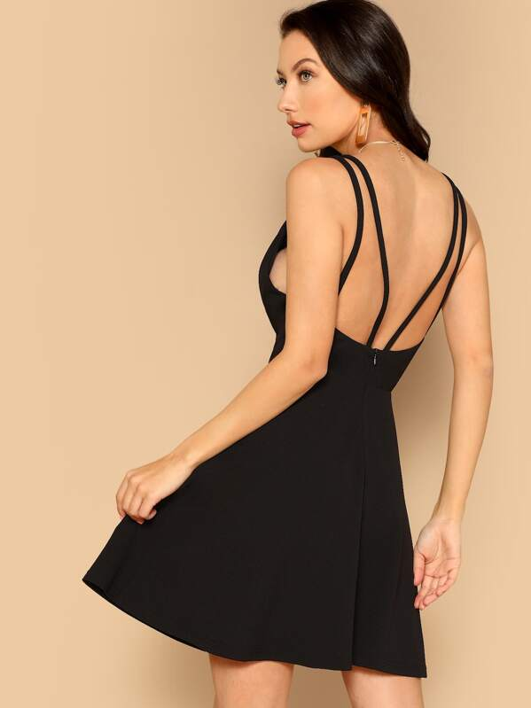 Plunging Neck Fit and Flare Dress
