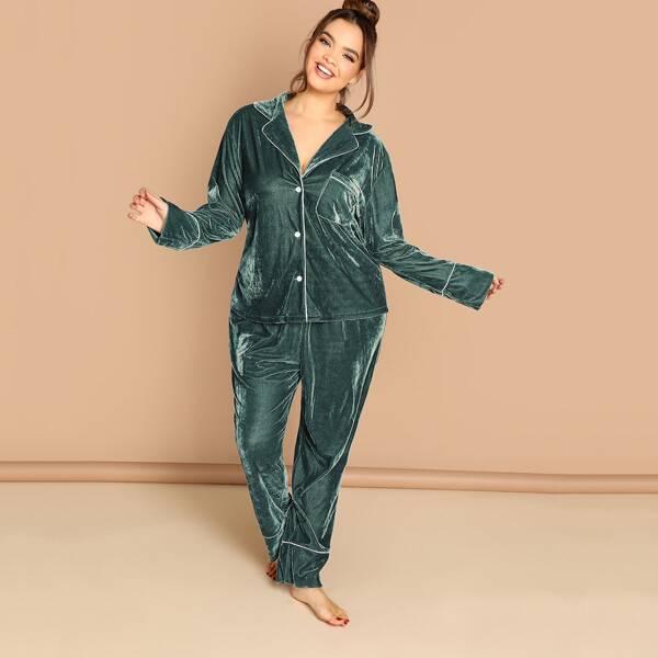 Plus Contrast Tipping Velvet Shirt & Pants PJ Set