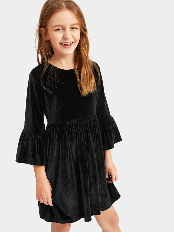 Girls Bell Sleeve Zip Back Dress, Sashab