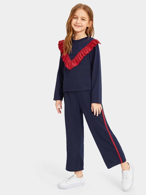 Girls Ruffle Detail Top and Striped Side Pants Set, Sashab