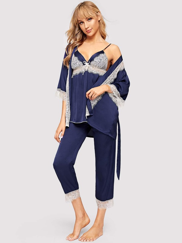 Floral Lace Satin Cami PJ Set With Robe