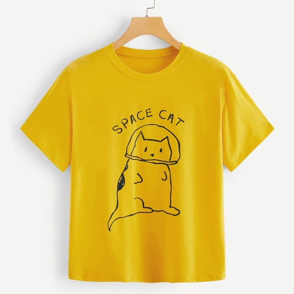 Letter And Cat Graphic Tee, Yellow
