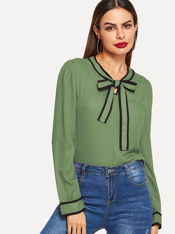 Contrast Binding Tie Neck Blouse, Andy