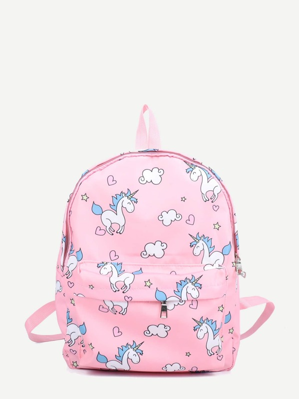 Kids Unicorn Print Pocket Front Backpack, null