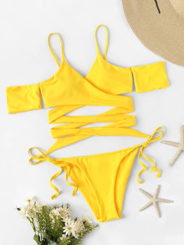 Neon Yellow Wrap Bardot Top With Tie Side Bikini