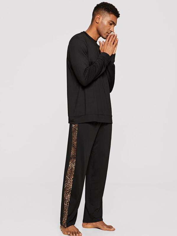Men Contrast Leopard Print Pajama Set