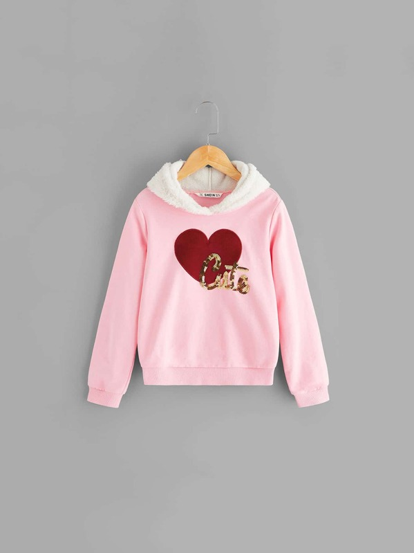 Girls Love With Letter Sequin Detail Hoodie
