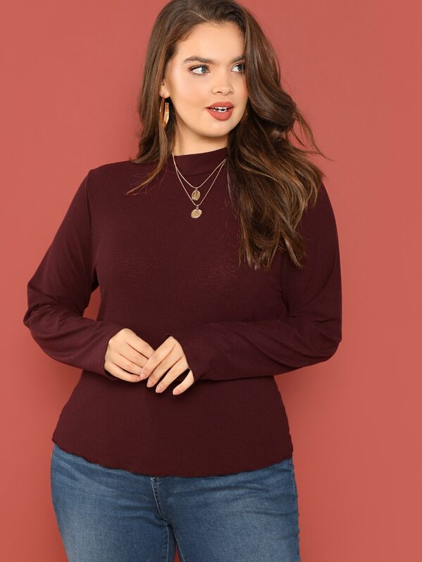 Plus Mock Neck Rib-knit Top