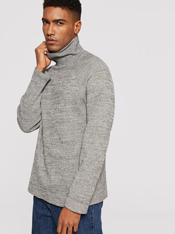 Men High Neck Raglan Sleeve Marled T-shirt, Johnn Silva