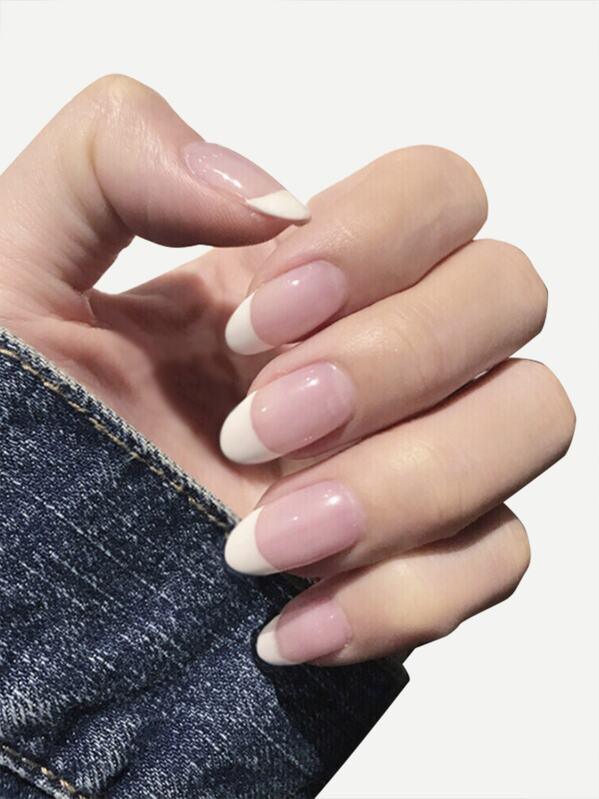 Two Tone Fake Nail With Double Side Tape 25pack, null