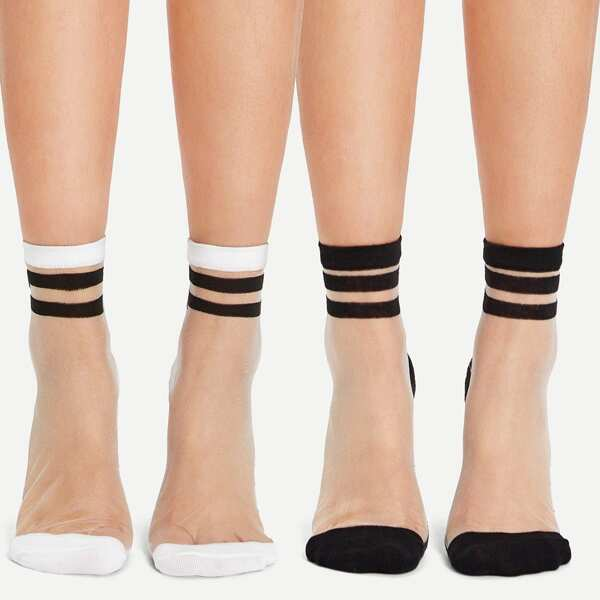 Crystal Silk Ankle Socks 2pairs, Black and white