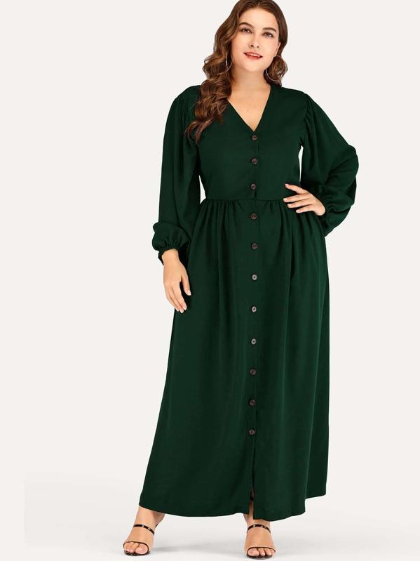 Plus Single-breasted V-neck Dress