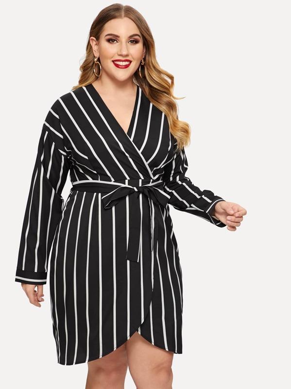 Plus Tie Waist Surplice Wrap Striped Dress, Mafe