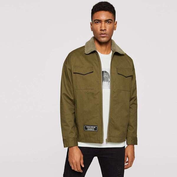 Men Faux Shearling Collar Flap Pocket Jacket