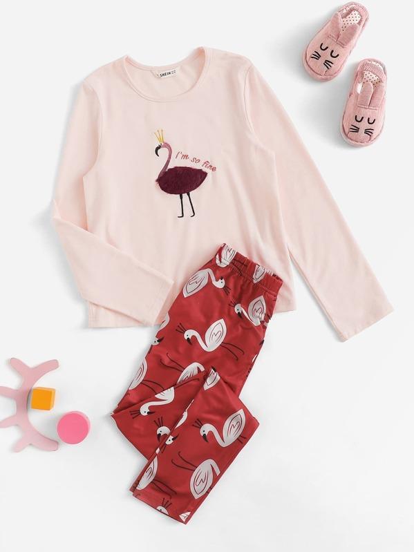Girls Faux Fur & Embroidery Flamingo Top & Pants Set
