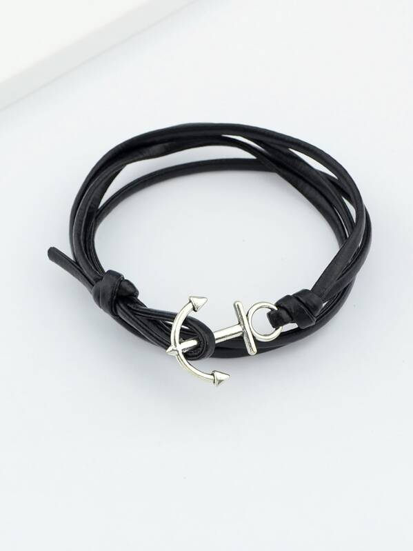 Black Color Pu Leather Anchor Chain Bracelets, null