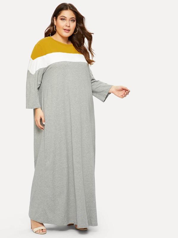 Plus Cut-and-sew Heather Knit Maxi Dress, Carol
