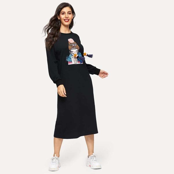 Pompom and Tassel Detail Figure Print Sweatshirt Dress