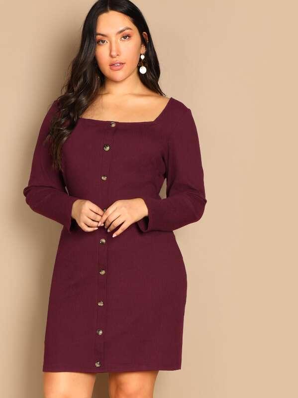 Plus Button Front Square Neck Rib-knit Dress