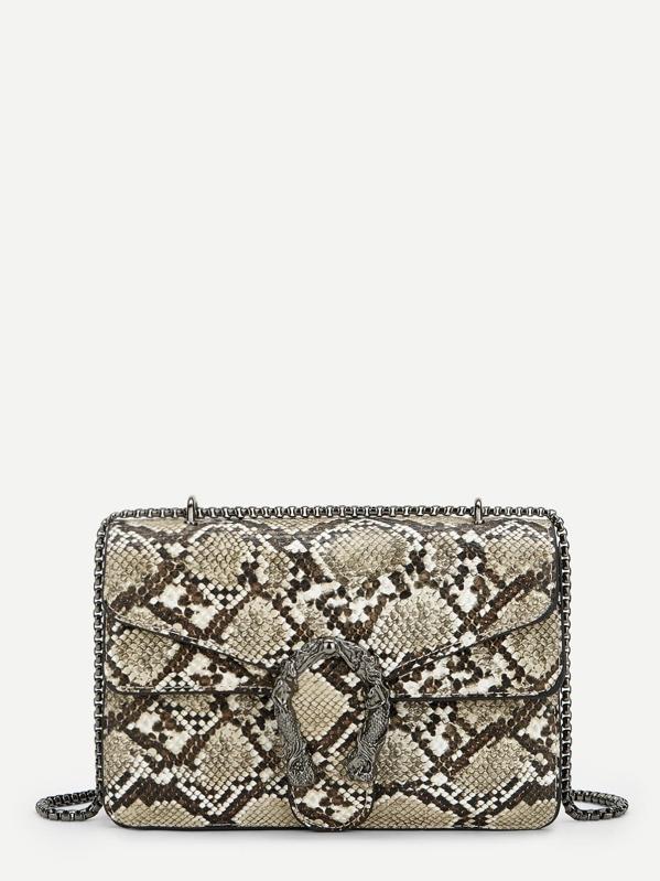 Metal Detail Snakeskin Pattern Crossbody Bag