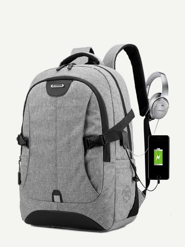 Men USB Charging Port Design Backpack, null