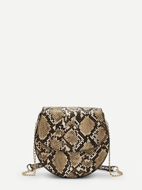 Snakeskin Pattern Chain Crossbody Bag