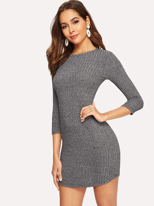 Marled Knit Curved Hem Ribbed Bodycon Dress, Giulia