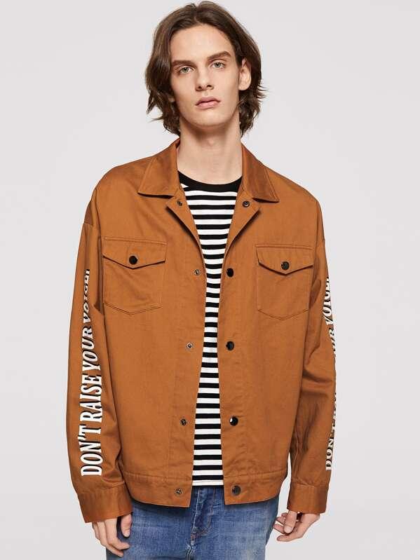 Men Flap Pocket Front Lettering Jacket, Ismael