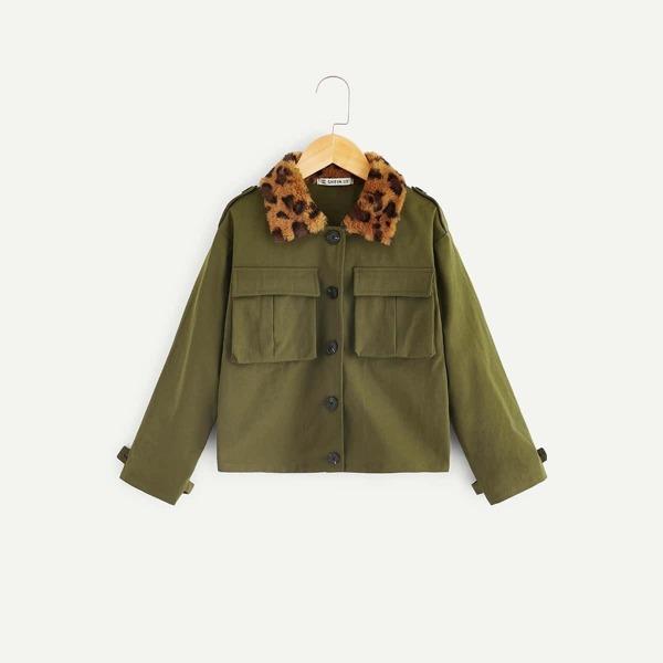Girls Faux Shearling Leopard Collar Flap Pocket Jacket, Army green