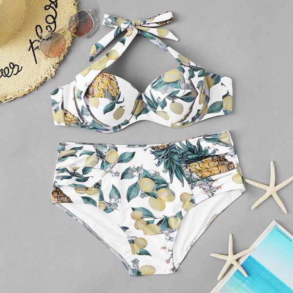 Plus Random Fruit Print Ruched High Waist Bikini, Multicolor