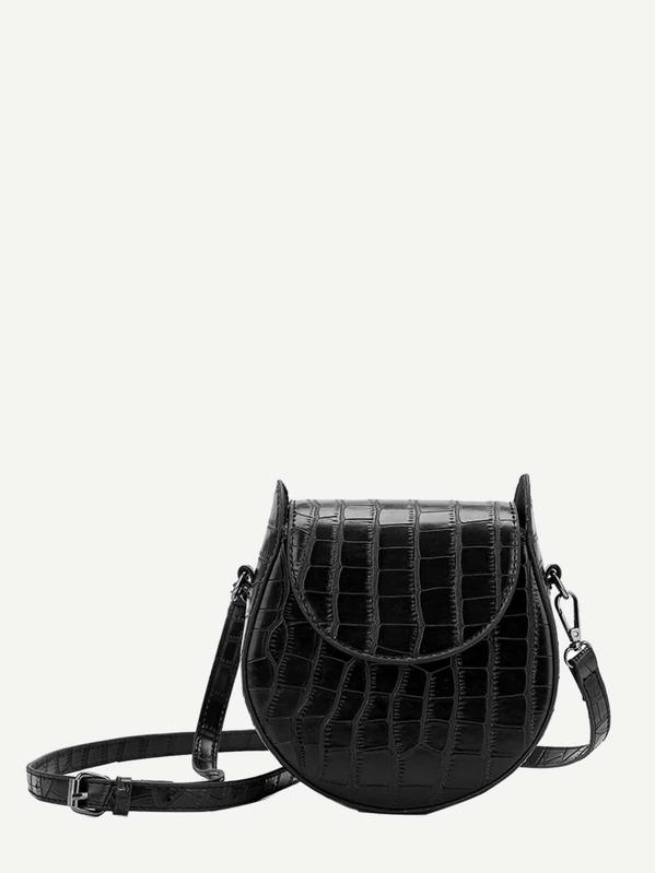 Croc Embossed Saddle Bag