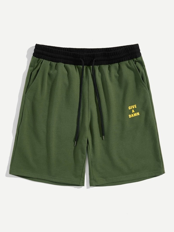 Men Letter Print Contrast Drawstring Waist Shorts