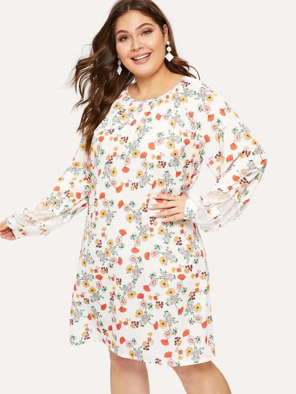 Plus Contrast Lace Floral Print Chiffon Dress