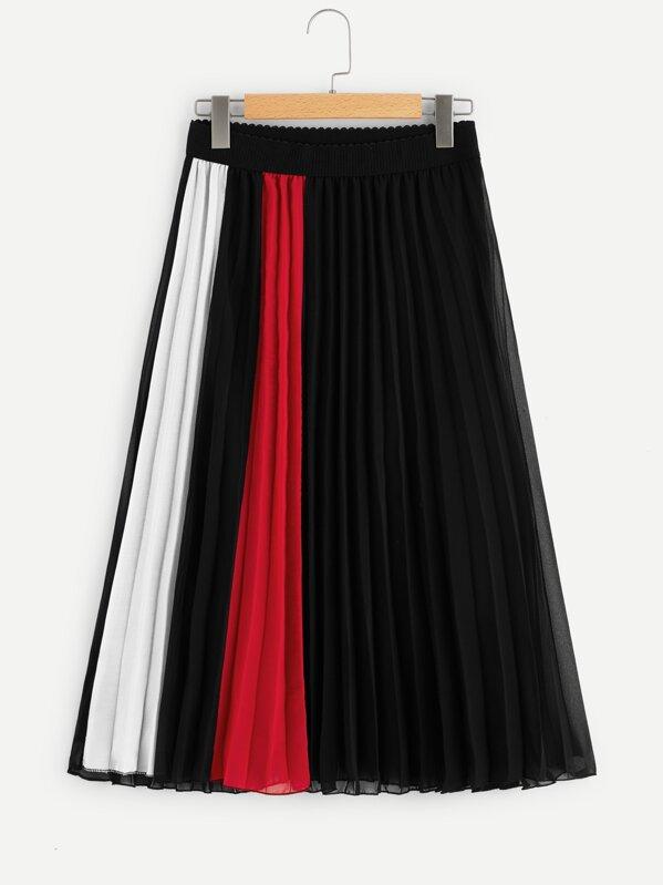 Контрастная плиссированная юбка