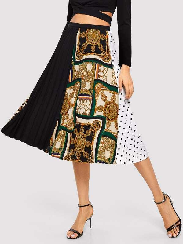Контрастная плиссированная юбка с графическим принтом