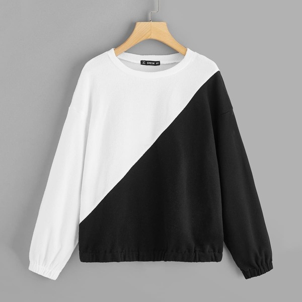 Two Tone Elastic Hem Pullover, Black and white