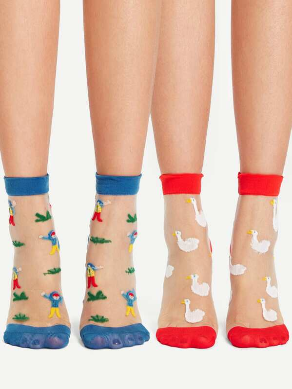 Figure & Animal Pattern Silk Socks 2pairs, null